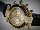 Chopard, Chrono, Imperiale,750 Gelbgold, Diamanten, Saphire, Lederarmband