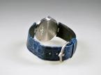 Bunz Damenarmbanduhr, 950 Platin, Lederarmband blau